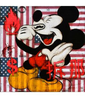Mickey and the American flag - Painting by Kromo