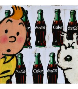 Tintin and Milou on advertising background for Coca-Cola
