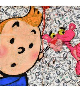Tintin et la panthère rose sur fond de Dollars