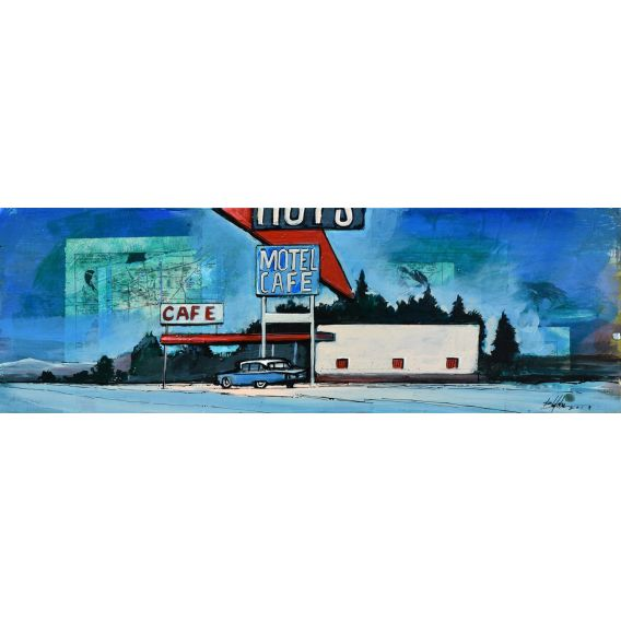 Roy's Motel and cafe - Painting by Bertrand Lefebvre