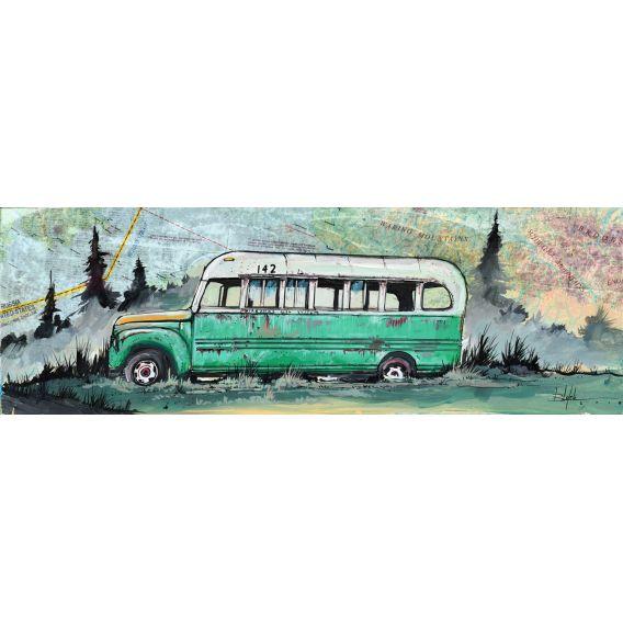 A l'état sauvage - Bus vert - Peinture de Bertrand Lefebvre