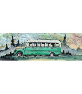 Into the wild - Green bus - Painting by Bertrand Lefebvre
