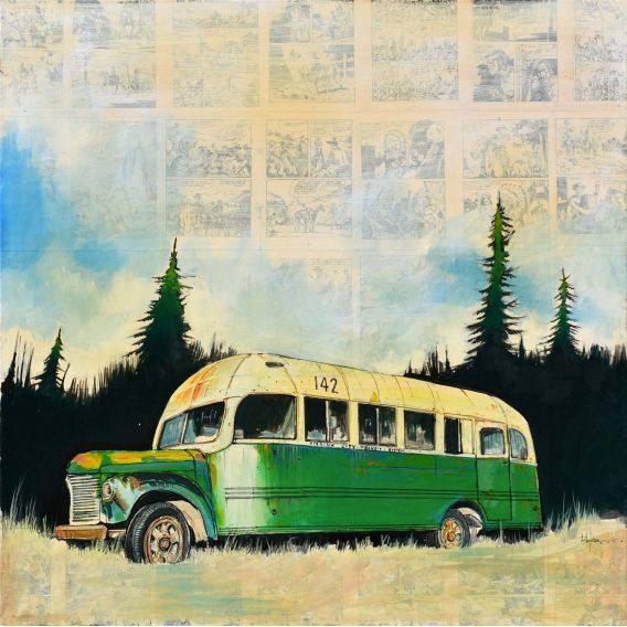 Magic bus 142 - Painting by Bertrand Lefebvre