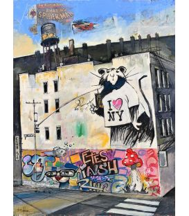 Banksy NY - Painting by Bertrand Lefebvre