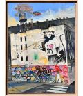 Banksy NY - Framed in oak wood