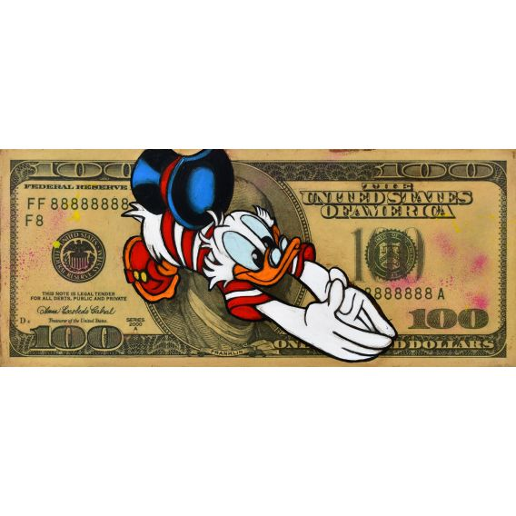 Picsou on a 100 Dollars bill - Painting by Kromo