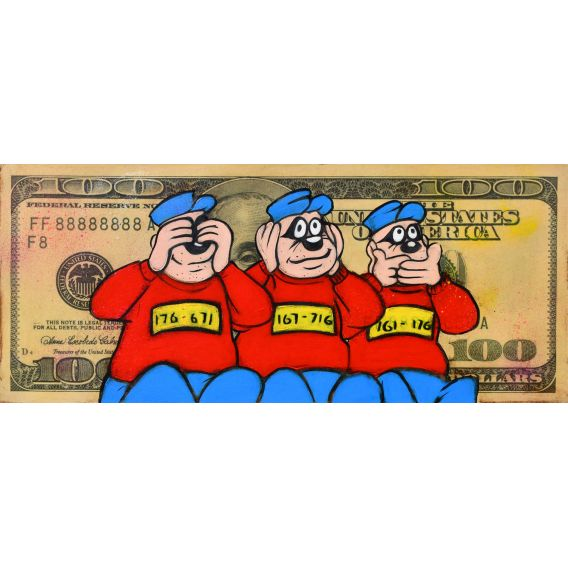 Les Rapetou sur un billet de 100 Dollars - Tableau de Kromo