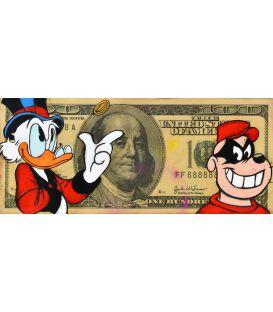 Picsou et un Rapetou sur un billet de 100 Dollars - Tableau de Kromo