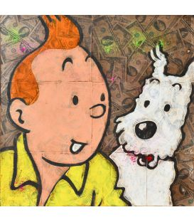 Tintin and the pink panther on a background of Dollars