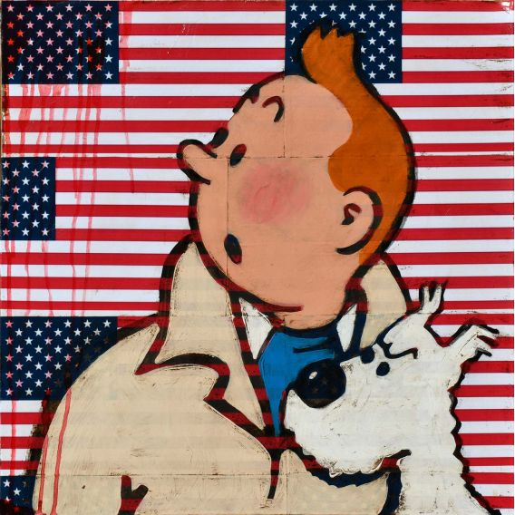 Tintin and Milou on a background of American flags - Painting by Kromo