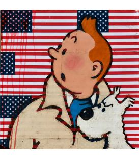 Tintin and Milou on a background of American flags