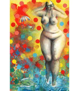 La femme nue dans le jardin à pois