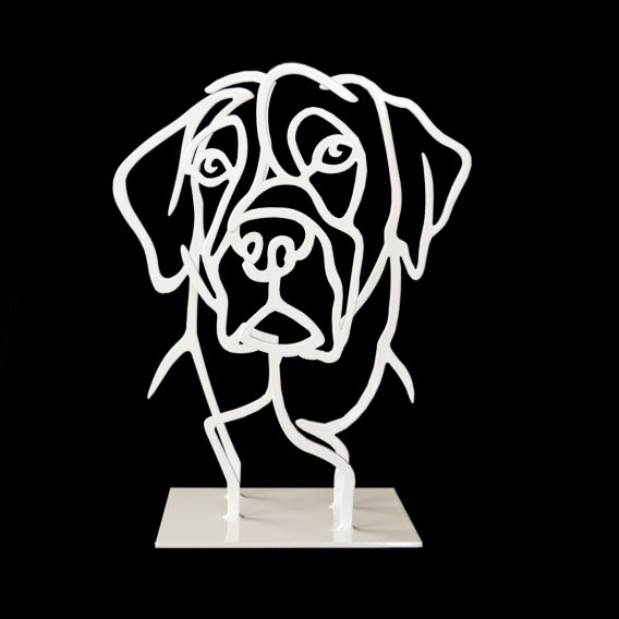 White dog's head n°13/50 - Sculpture by Pascal Buclon