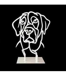 Tête de chien blanc n°13/50 - Sculpture de Pascal Buclon