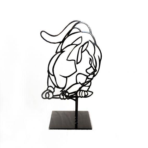 Le petit chat noir n°2/50 - Sculpture anamorphique de Pascal Buclon