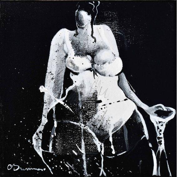 Série la fille en noir et blanc n°1 - Tableau de Corinne Brenner