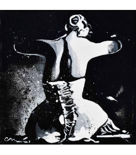Série la fille en noir et blanc n°3 - Tableau de Corinne Brenner