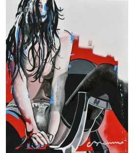 The naked girl on the plexiglass chair - Painting by Corinne Brenner