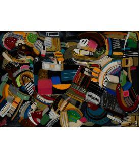Abstraction des restes n°4 - Acrylique sur papier de Didier Delgado
