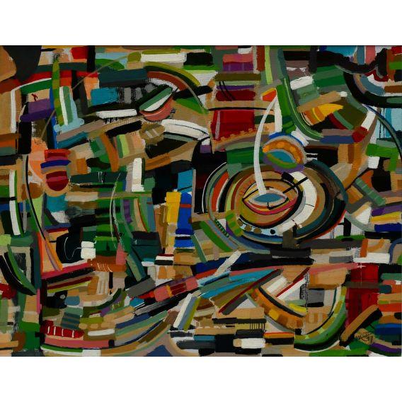 Abstraction des restes n°7 - Acrylique sur papier de Didier Delgado