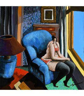 11 heures du matin, Julie fait une pause dans son club bleu - Petit format de Corinne Brenner