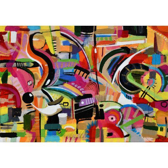 Abstraction des restes n°11 - Acrylique sur toile de Didier Delgado