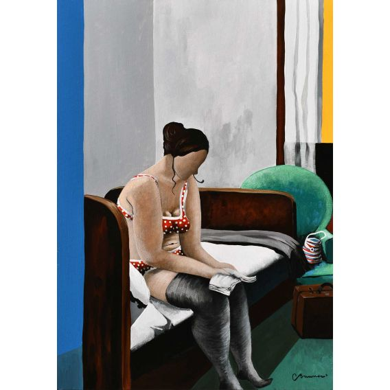 At Edward's home, Julie reads on the bed - Painting by Corinne Brenner