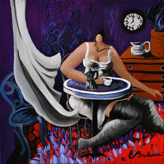A breeze surprises Julie in her kitchen - Painting by Corinne Brenner