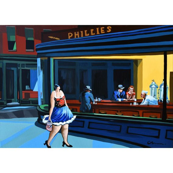 Julie walks in Nighthawks - Painting by Corinne Brenner