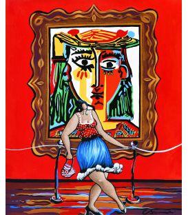 """Julie au musée Picasso pose devant le """"Buste de la femme au chapeau"""""""