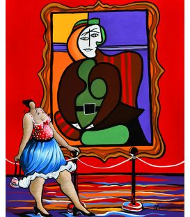 "Julie standing in front of ""Seated woman in a red armchair"" (Picasso) - Painting by Corinne Brenner"