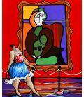 """Julie debout devant """"La femme assise dans un fauteuil rouge"""" (Picasso)"""
