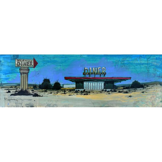 Midway diner - Painting byBertrand Lefebvre