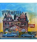 Fair lane motel - Detroit - Painting by Bertrand Lefebvre