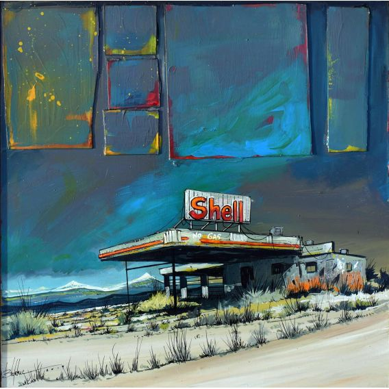 Disused Shell station - Painting by Bertrand Lefebvre