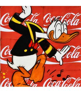 Donald Duck's dance on a background of Coca Cola