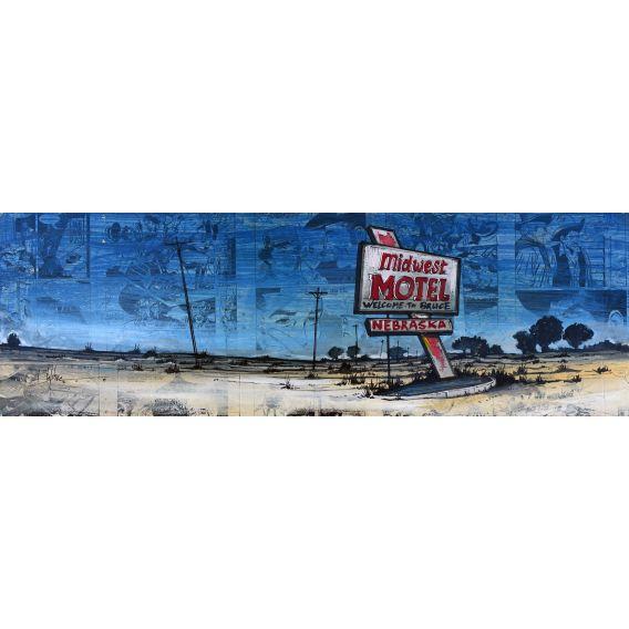 Midwest motel Nebraska - Painting by Bertrand Lefebvre