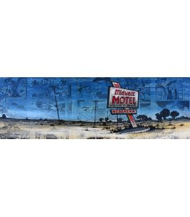 Midwest motel Nebraska - Painting by Bertrand Lefebvre