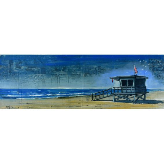Lifeguard hut in Malibu - Painting by Bertrand Lefebvre