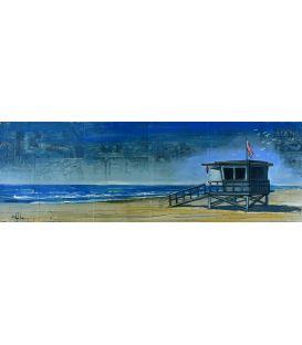 Cabane de sauveteurs à Malibu - Tableau de Bertrand Lefebvre