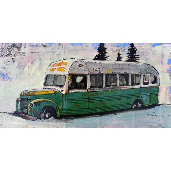 Le bus du film Into the wild - Tableau de Bertrand Lefebvre