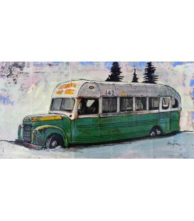 "The bus of the movie ""Into the wild"" - Painting by Bertrand Lefebvre"