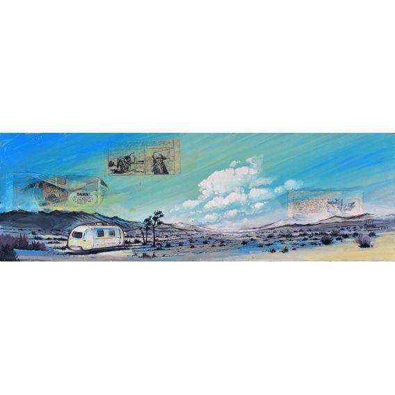 Caravan in the desert - Painting by Bertrand Lefebvre