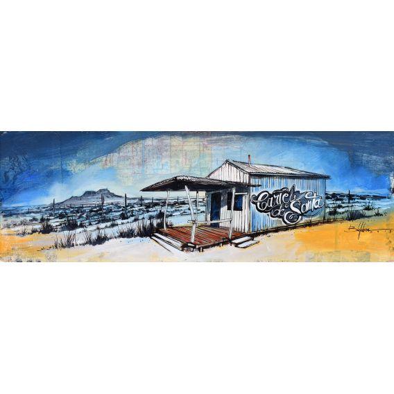 Cartel de Santa - Wooden hut - Painting by Bertrand Lefebvre