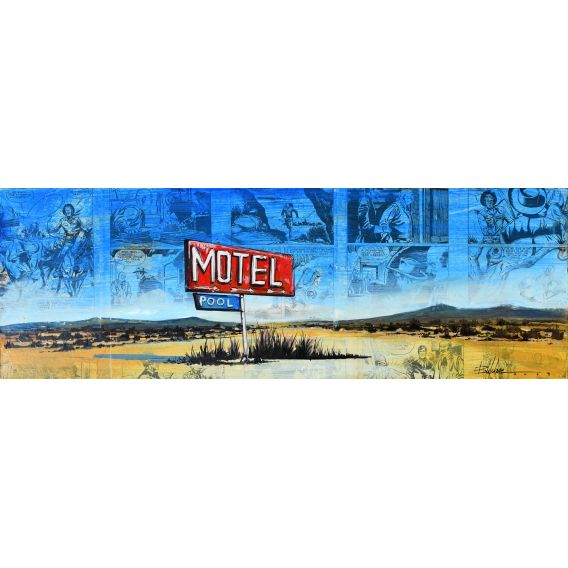 Motel pool - Painting by Bertrand Lefebvre