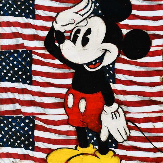 Mickey au garde à vous sur fond de drapeau Américain - Tableau de Kromo
