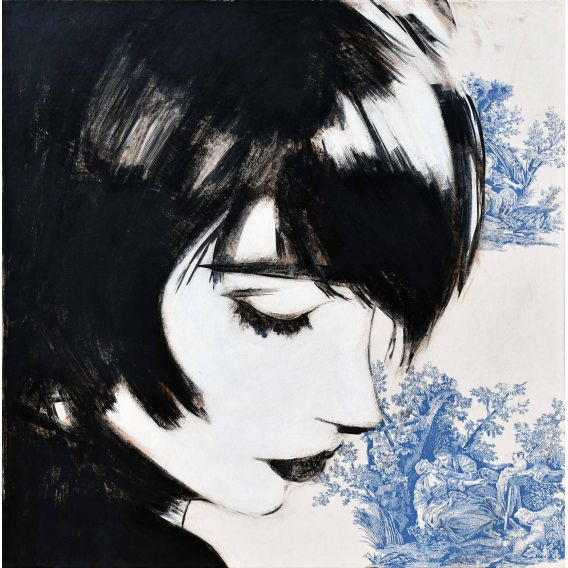 Faces, figures - Manga on blue Jouy canvas - Painting by Yann Kempen