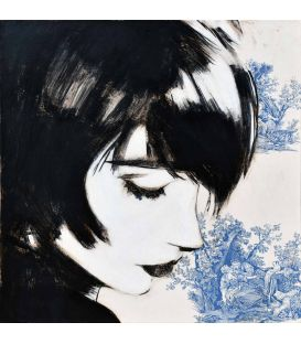 Faces, figures - Manga on blue Jouy canvas