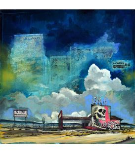 GAS - Disused gas station - Cartel de Santa - Painting by Bertrand Lefebvre
