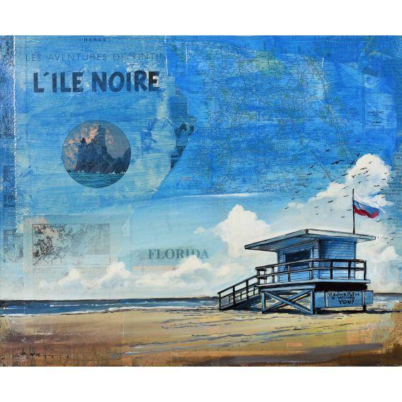 The Black Island - Lifeguard Hut in Malibu - Painting by Bertrand Lefebvre